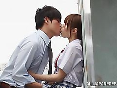 Incredible Japanese teenager Rina Rukawa is into a horny threesome in the..