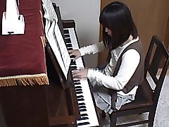 The cute youthfull teenager only came to practice her piano skills, and to get..
