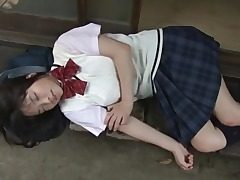 Japanese student Eri Sasaki in a sweater and skirt