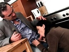 Hottie is getting her cunt ravished by teacher on the sofa