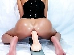 Nasty Teen Whore Anal invasion Plows Large Dildo On Web cam