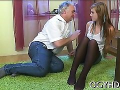 Young angel enjoys xxx insertion of old hard shlong