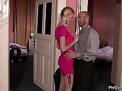 Blonde lady caught cheating with older man