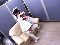 Lovely Japanese teen in pantyhose gets her tight cootchie dri