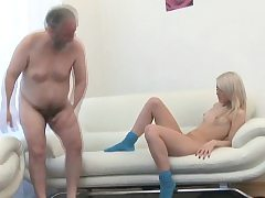 Enchanting youthfull honey gives sultry rail to an old guy