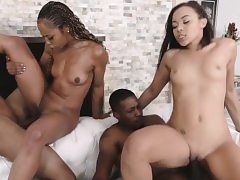 Ebony mother and daugter's ultra-cute facial