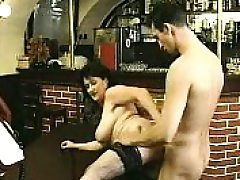 Brown-haired in stockings sucks big stiffy and fucks it