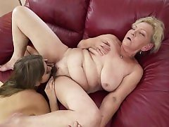 Russian Julia Crimson licking granny Irenes hairy pussy and caboose