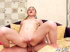 Babe gets rough anal toying previous to riding on studs shlong