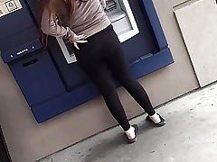 Caught Skinny girls fat rump at atm