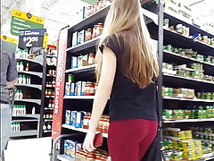 Candid voyeur BUSTED by cock-squeezing blonde nubile at Walmart arse