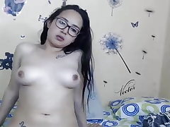 Girl with Glasses shows Tits