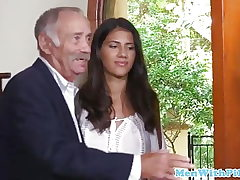 Latin nubile takes aged manmeat in her pussy