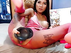 Webcam asian doll gigantic playthings buttfuck and burst
