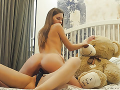 Lesbian college roommates strapon fake penis sex with teddy bear