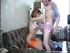 Teen in orange nylons takes bone