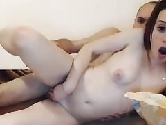 Red-haired small jugged amateur nailed on cam