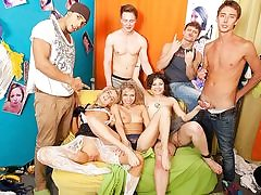Mischievous college girls partying and banging