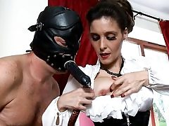 Insatiable dude is wearing a dark-hued leather mask fucking her mouth